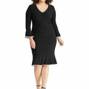 Black Bell Sleeve Cocktail Dress Flounce 18 NWT